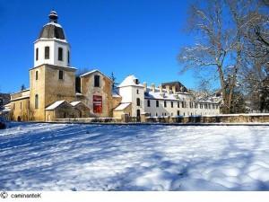 vue hivernale de l'abbaye de l'escaladieu